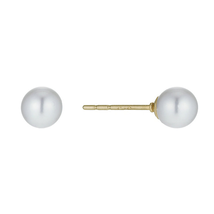 9ct Yellow Gold Cultured Fresh Water Pearl Stud Earrings 5mm - Product number 9898298