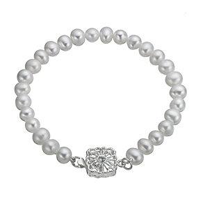 Sterling Silver Cultured Freshwater Pearl Vintage Bracelet - Product number 9898352