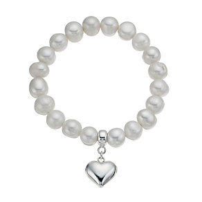 Sterling Silver Created Pearl Heart Charm Bracelet - Product number 9898395