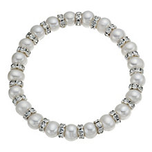 Cultured Freshwater Pearl & Crystal Elasticised Bracelet - Product number 9898506
