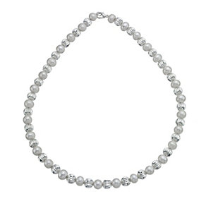 Silver Plated Cultured Freshwater Pearl Bead Necklace - Product number 9898670