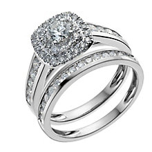 18ct white gold one carat diamond double halo bridal set - Product number 9900640