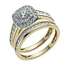 18ct yellow gold one carat diamond halo bridal set - Product number 9900772