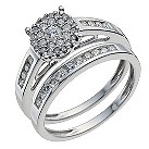 9ct white gold 0.50ct diamond halo bridal set - Product number 9901043