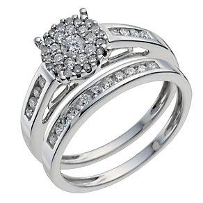 9ct white gold 0.50ct diamond halo bridal set - Product number 9901043