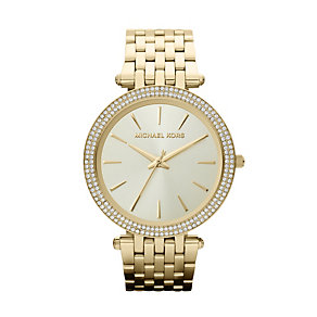 Michael Kors ladies' stone set gold plated bracelet watch - Product number 9901175