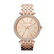 Michael Kors ladies' stone set rose gold tone watch - Product number 9901183