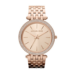 Michael Kors ladies' stone set rose gold plated watch - Product number 9901183