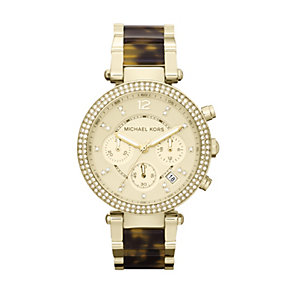 Michael Kors ladies' gold-plated tortoiseshell effect watch - Product number 9901191