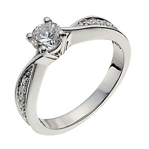 18ct white gold 50pt diamond solitaire H/I -I1 certified - Product number 9902597
