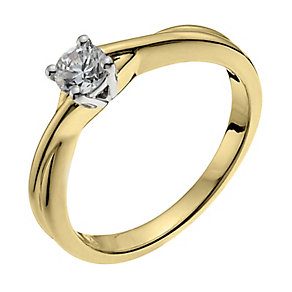 18ct yellow gold 1/4 carat diamond H/I -I1 certified ring - Product number 9902856