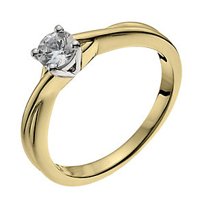 18ct yellow gold 33pt diamond solitaire H/I -I1 certified - Product number 9902988