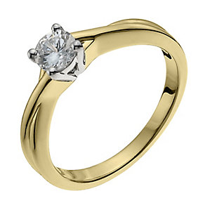 18ct yellow gold 40pt diamond solitaire H/I -I1 certified - Product number 9903119