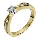 18ct yellow gold 1/3 carat diamond shoulder solitaire ring - Product number 9903518