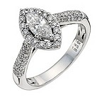 18ct white gold one carat marquise solitaire diamond ring - Product number 9904603