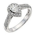 18ct white gold one carat pear halo diamond solitaire ring - Product number 9904735