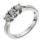18ct white gold 1/2 carat diamond trilogy ring - Product number 9905006