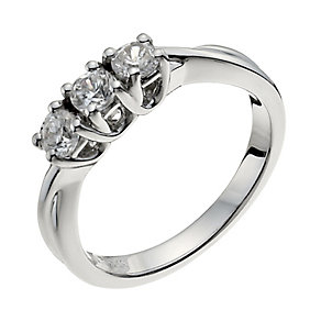 18ct white gold 1 carat diamond trilogy H/I -I1 certified - Product number 9905154