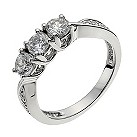 18ct white gold 1/2 carat diamond shoulder trilogy ring - Product number 9905294