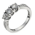 18ct white gold one carat diamond shoulder trilogy ring - Product number 9905421