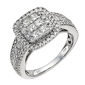 18ct white gold 1.5 carat diamond cluster ring - Product number 9908064