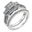 18ct white gold one carat diamond bridal set - Product number 9908331