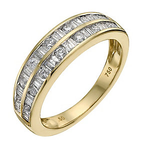 18ct yellow gold 0.50ct diamond double row eternity ring - Product number 9908870