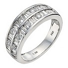 18ct white gold one carat diamond double row eternity ring - Product number 9909001