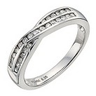 Palladium 950 quarter carat diamond crossover eternity ring - Product number 9909265