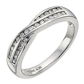 Palladium 950 quarter carat diamond crossover eternity ring - Product number 9909265