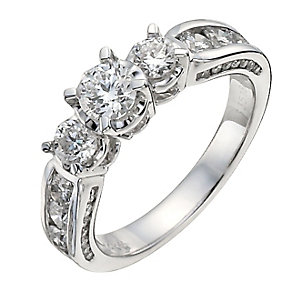 18ct white gold 1.5 carat trilogy diamond ring - Product number 9910859