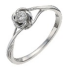 9ct white gold 15 point diamond flower solitaire ring - Product number 9911294