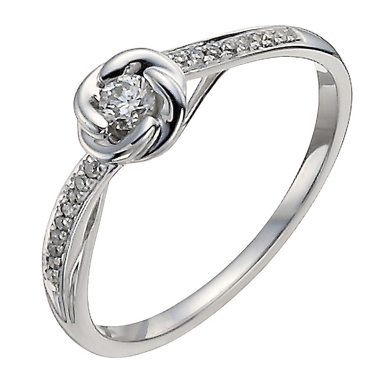 9ct white gold 15 point diamond flower solitaire ring - Product number 9911413