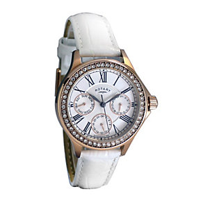 Rotary Ladies' Rose Gold White Leather Strap Watch - Product number 9911545