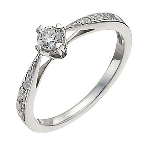 9ct white gold third of a carat diamond solitaire ring - Product number 9911553