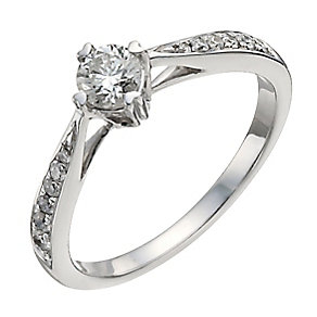 9ct white gold half carat diamond solitaire ring - Product number 9911707