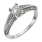 9ct white gold half carat diamond soliatire ring - Product number 9911979