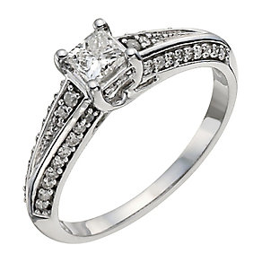 9ct white gold half carat diamond solitaire ring - Product number 9911979
