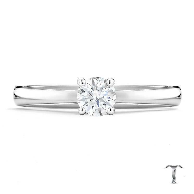 Tolkowsky platinum 0.40ct HI-SI2 diamond ring - Product number 9912398