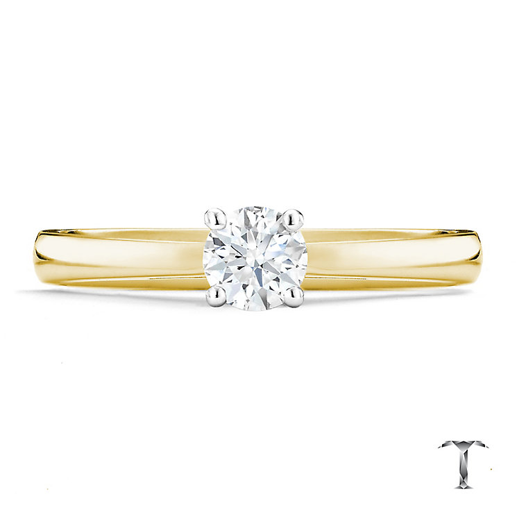 Tolkowsky 18ct yellow gold 0.40ct HI-VS2 diamond ring - Product number 9912673