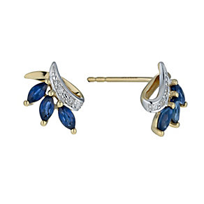 9ct yellow gold sapphire & diamond leaf earrings - Product number 9913491