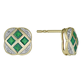 9ct yellow gold emerald & diamond flower lattice earrings - Product number 9913521