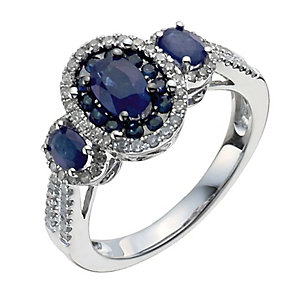 18ct white gold three stone oval sapphire & diamond ring - Product number 9913548