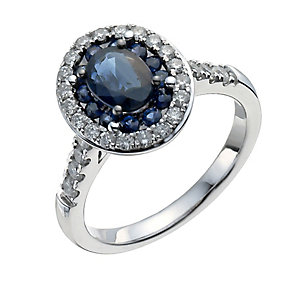 18ct white gold oval sapphire & half carat diamond ring - Product number 9913661