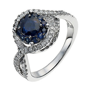 18ct white gold sapphire & 0.33 ct diamond crossover ring - Product number 9913807