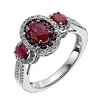 18ct white gold three stone oval ruby & 30pt diamond ring - Product number 9913939
