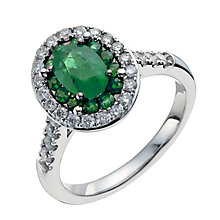 18ct white gold oval emerald & 0.50ct diamond ring - Product number 9914331