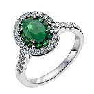 18ct white gold oval emerald & half carat diamond ring - Product number 9914331