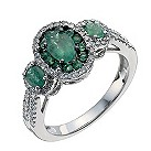 18ct white gold three stone oval emerald & 30pt diamond ring - Product number 9914870