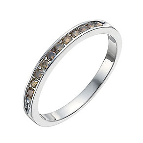 Sterling silver 0.25ct brown diamond half eternity ring - Product number 9915133